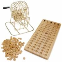 Vintage Wooden Bingo Game 6-Inch Brass Cage - 1 each
