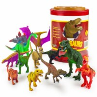 "Set of 12 Large 7"" Dinosaur Toys with Storage Drum"
