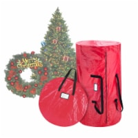 Christmas Tree and Wreath Storage Bag Organizers Zipper with Handles Red