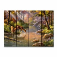 Day Dream HQ SKDIS2216 22 x 16 in. Kims Deer in Stream Inside & Outside Cedar Wall Art - 1
