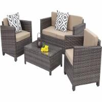 Sunvivi 5 PC Gray PE Wicker / Rattan Outdoor Patio Furniture Set in Tan - 1