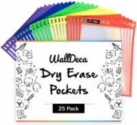 """WallDeca Dry Erase Pocket Sleeves Assorted Colors (25-Pack), 8.5"""" x 11"""" Job Ticket Holders"""