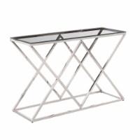 Silver/Glass Diamond Console Table, Kd - 1