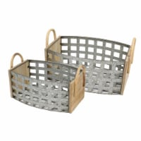 Saltoro Sherpi Transitional Style Tin and Wooden Woven Galvanized Basket with Two Handles, - 1 unit