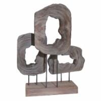 Wood 23.5  Cut Log Table Top Decor, Brown - 1