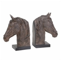 S/2 Resin 11  Horse Head Bookends, Rust - 1
