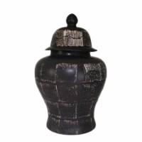 Ceramic 28  Temple Jar, Antique Black - 1