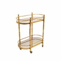 Metal 28  2 Tier Bar Cart, Gold - 1