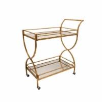 Metal 33  2-Tier Rolling Bar Cart, Gold - 1
