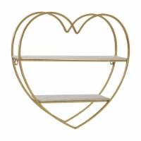 Metal/Wood 2 Tier Heart Wall Shelf, White/Gold - 1
