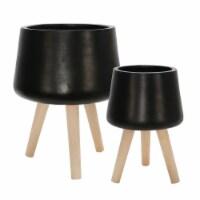 S/2 11/15  Planter W/ Wood Legs, Matte Black - 1
