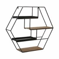 Metal/Wood 24  Wall Shelf Deco, Brown - 1