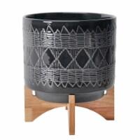 Ceramic 11  Aztec Planter On Wooden Stand, Black - 1