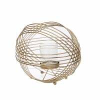 Metal 9  Sphere Tea Light Candle Holder, Gold - 1
