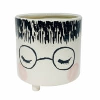 Ceramic 6  Footed Face Planter, White - 1