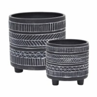S/2  Tribal Look Footed Planter 6/8 , Black - 1