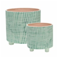 S/2  Checkered Footed Planter 6/8 , Green - 1