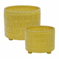 S/2 Ceramic Footed Etched Planter 10/12 , Yellow - 1