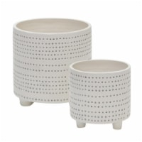 S/2 Ceramic Footed Planter W/ Dots 6/8 , Ivory - 1