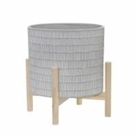 12  Ceramic Tribal Planter W/ Wood Stand, Beige - 1