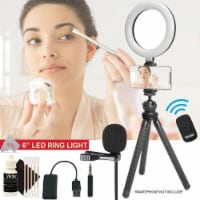Vivitar 6 Inches Led Ring Light Dimmable Lamp + Lavalier Microphone Kit - 1