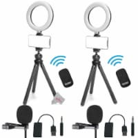 2pc Vivitar Vlog Podcast Essentials 6 Inches Led Ring Light Dimmable Lamp Accessory Kit - 1