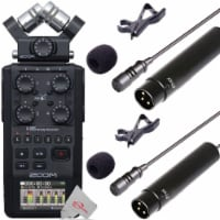 Zoom H6 All Black Handy Recorder + Two Vidpro Xlr Wired Lavalier Microphone - 1