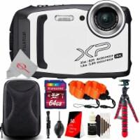 Fujifilm Finepix Xp140 Waterproof Digital Camera White + Essential Accessory Kit - 1