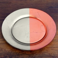Red Pomegranate 0985-2 Gilt Demi Dinner Plate, Silver & Rose - 1