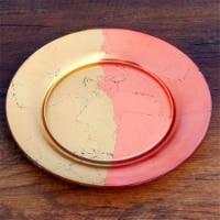 Red Pomegranate 4984-6 Gilt Edge Salad Plates, Gold & Rose - Set of 4 - 1