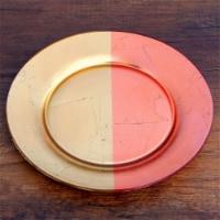 Red Pomegranate 4985-3 Gilt Demi Dinner Plates, Gold & Rose - Set of 4 - 1