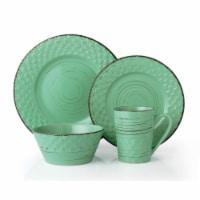 Lorren Home Trends LH517 16 Piece Distressed Weave Dinnerware Set, Green