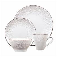 Lorren Home Trends LH524 16 Piece Stoneware Scroll Dinnerware Set, White