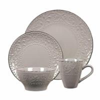 Lorren Home Trends LH527 16 Piece Stoneware Scroll Dinnerware Set, Gray