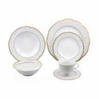 Lorren Home Trends LH460 24 Piece Wavy Fine China Gold Dot Dinnerware, Service for 4