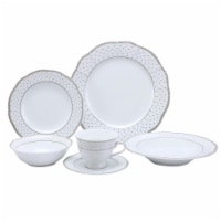 Lorren Home Trends LH461 24 Piece Wavy Fine China Silver Dot Dinnerware, Service for 4