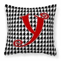 Monogram Initial Y Houndstooth Black Decorative   Canvas Fabric Pillow CJ1035
