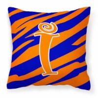 Monogram Initial I Tiger Stripe Blue and Orange Decorative Canvas Fabric Pillow