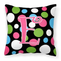 Monogram Initial E Polkadots and Pink Decorative   Canvas Fabric Pillow CJ1038