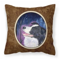Starry Night Border Collie Decorative   Canvas Fabric Pillow