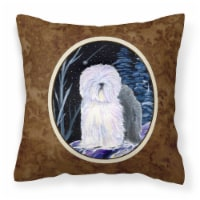 Starry Night Old English Sheepdog Decorative   Canvas Fabric Pillow