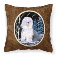 Starry Night Old English Sheepdog Decorative   Canvas Fabric Pillow - 14Hx14W