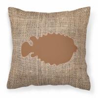 Fish - Blowfish Burlap and Brown   Canvas Fabric Decorative Pillow BB1016