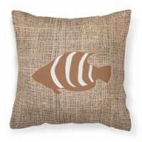 Fish Burlap and Brown   Canvas Fabric Decorative Pillow BB1020