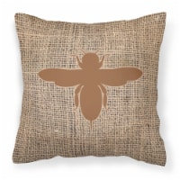 Bee Burlap and Brown   Canvas Fabric Decorative Pillow BB1057