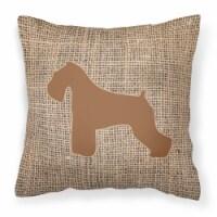 Schnauzer Burlap and Brown   Canvas Fabric Decorative Pillow BB1073