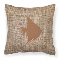 Fish - Angel Fish Burlap and Brown   Canvas Fabric Decorative Pillow BB1022