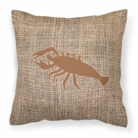 Lobster Burlap and Brown   Canvas Fabric Decorative Pillow BB1028 - 18Hx18W