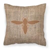 Yellow Jacket Burlap and Brown   Canvas Fabric Decorative Pillow BB1053