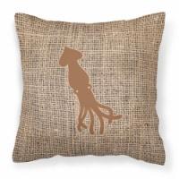 Squid Burlap and Brown   Canvas Fabric Decorative Pillow BB1096 - 18Hx18W